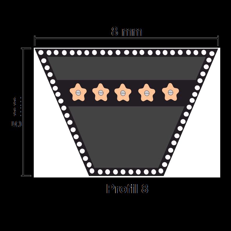 8x800 Li Klassischer Keilriemen 8 x 800 Li = 8 x 820Lw nach DIN 2215 ISO4184